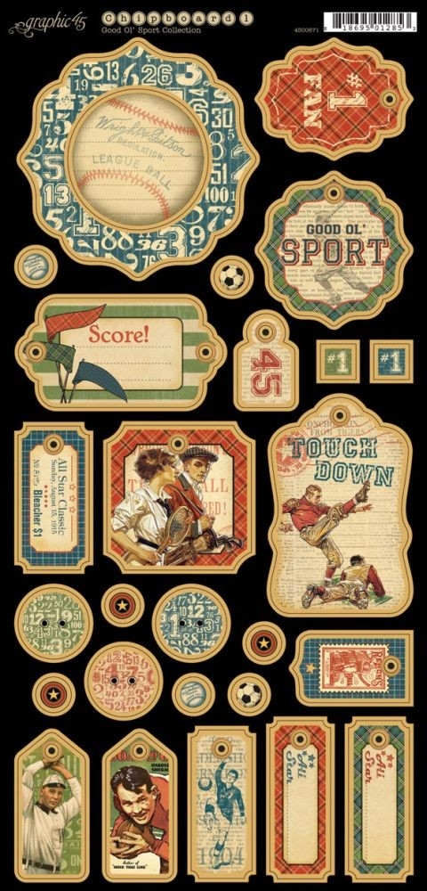 Graphic 45 Good Ol'' Sport Chipboard 1