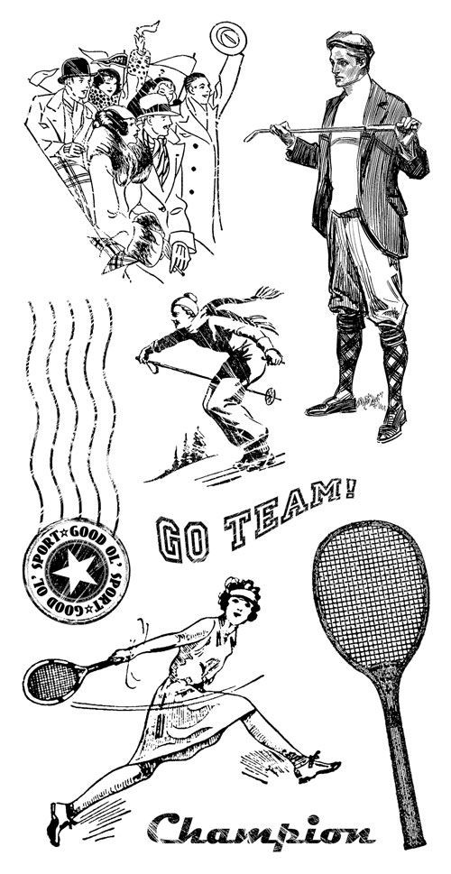 Graphic 45 Good Ol Sport Cling Stamp 3