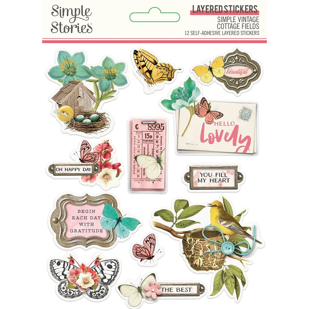 Simple Stories Simple Vintage Cottage Fields - Layered Stickers