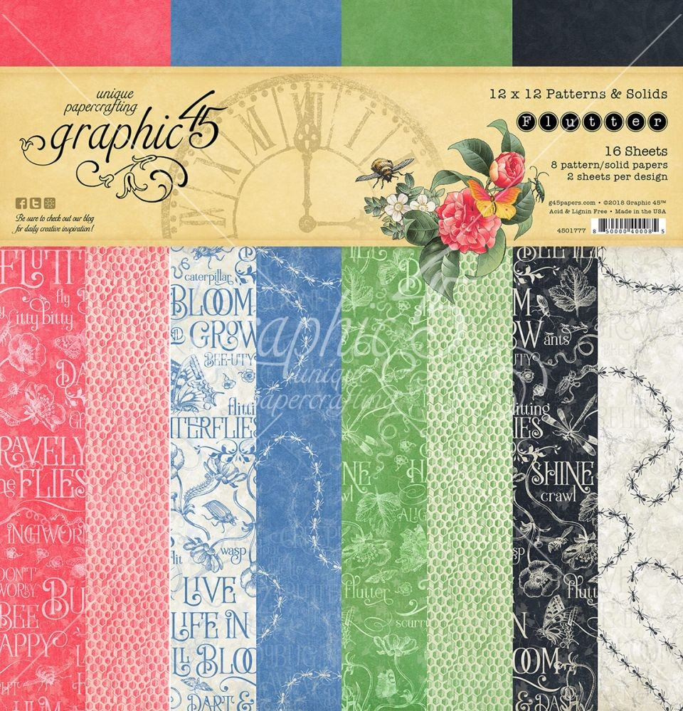 Graphic 45 Flutter 12x12 Patterns & Solids Pad