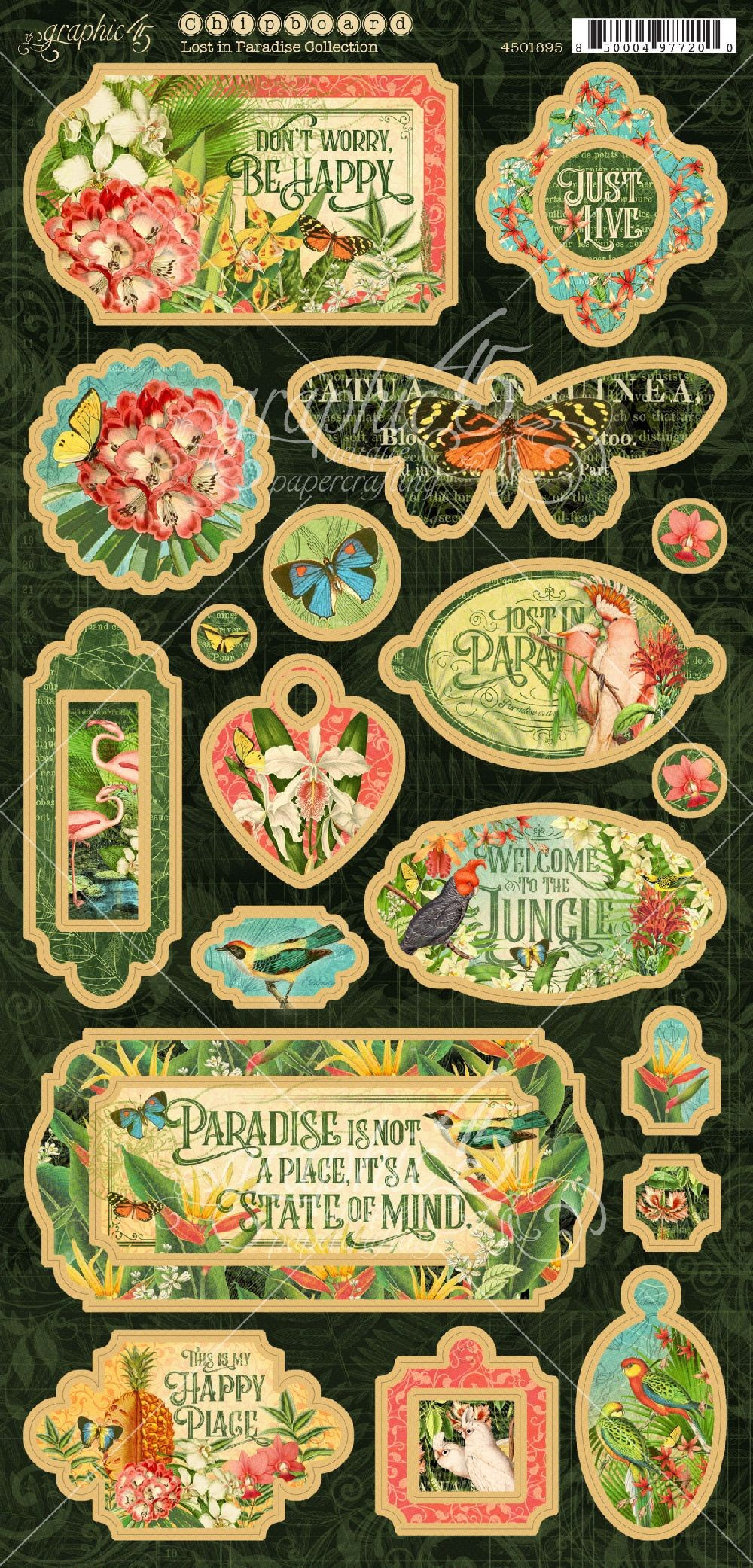 Graphic 45 Lost in Paradise Chipboard