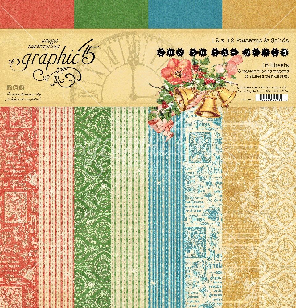 Graphic 45 Joy to the World 12x12 Patterns & Solid Pad