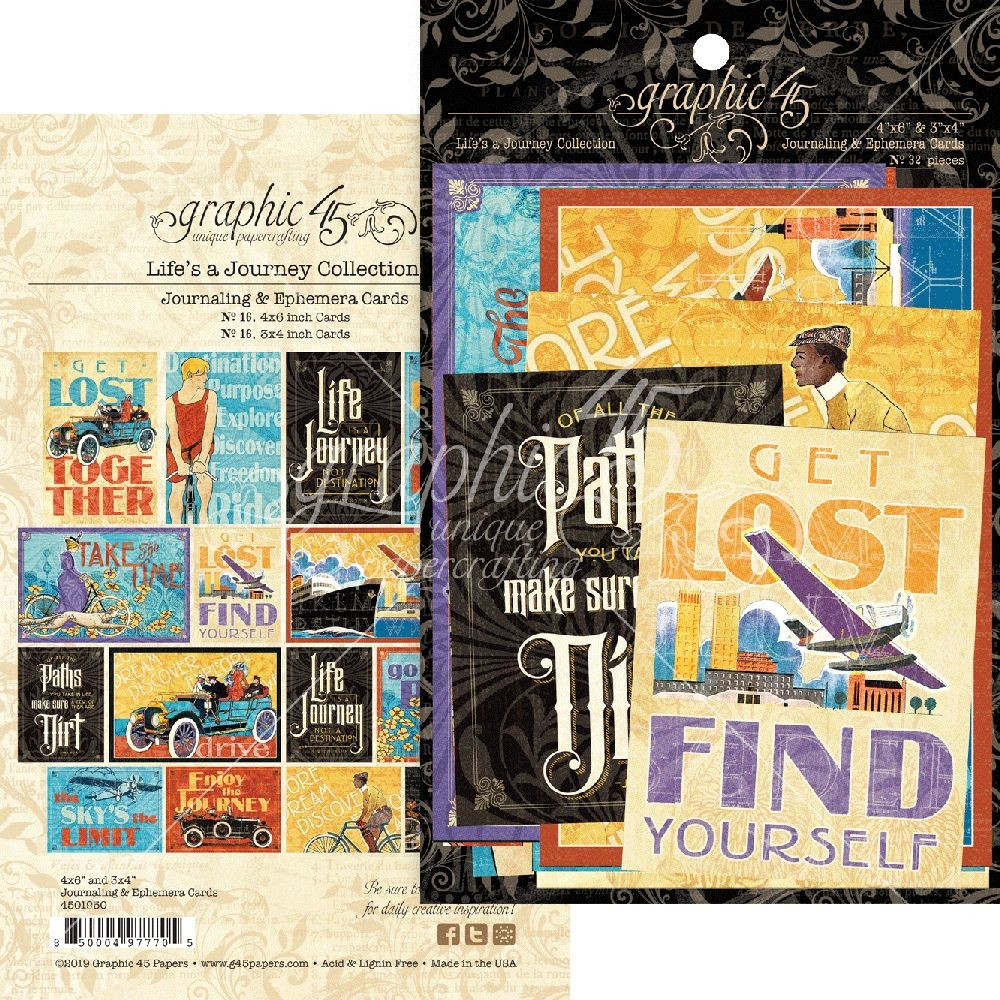 Graphic 45 Life''s a Journey Ephemera & Journaling Cards
