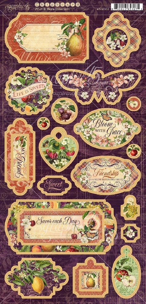 Graphic 45 Fruit & Flora Chipboard