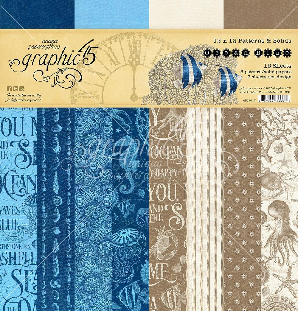 Graphic 45 Ocean Blue 12x12 Patterns & Solid Pad