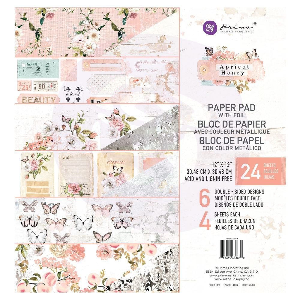Prima Marketing Apricot Honey - 12x12 paper pad