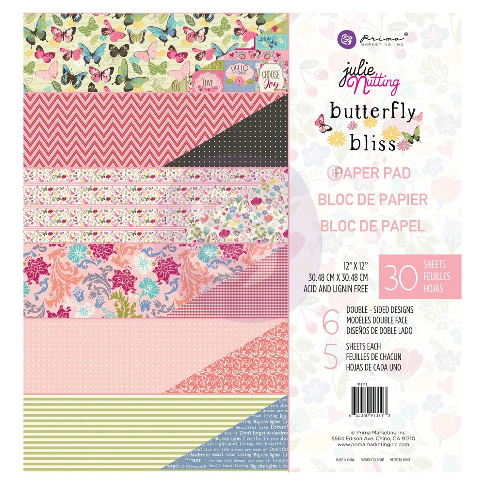 "Prima Marketing Julie Nutting Butterfly Bliss Collection 12""x12"" Paper Pad - Loving Life"