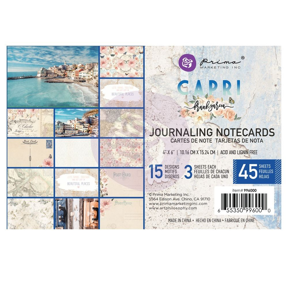 "Prima Marketing Capri Collection 4""x6"" Journaling Cards"