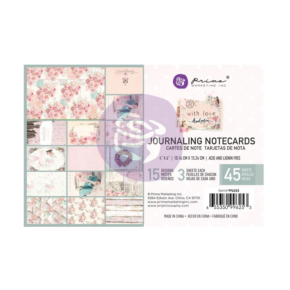Prima Marketing With Love Collection 4X6 Journaling Cards