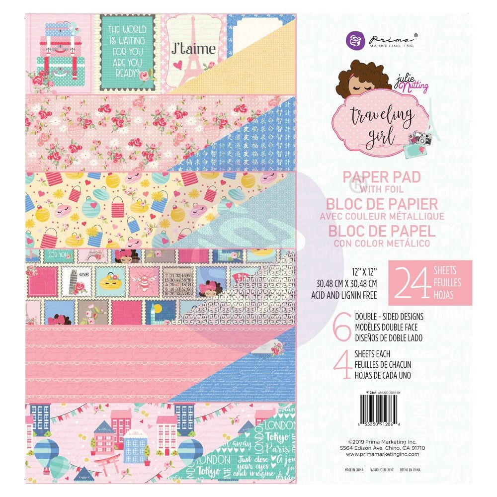 Prima Marketing Julie Nutting Traveling Girl 12x12 Paper Pad