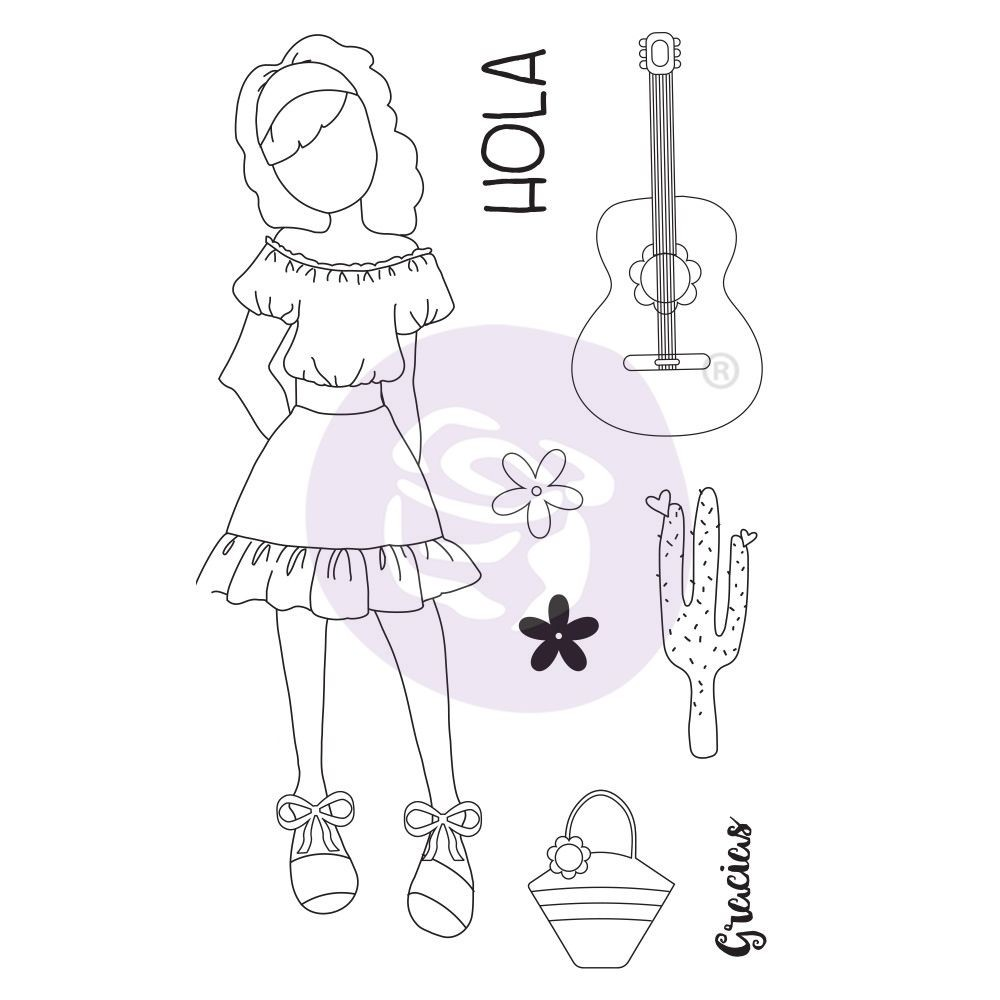 Prima Marketing Julie Nutting Doll Stamp - Gabriela