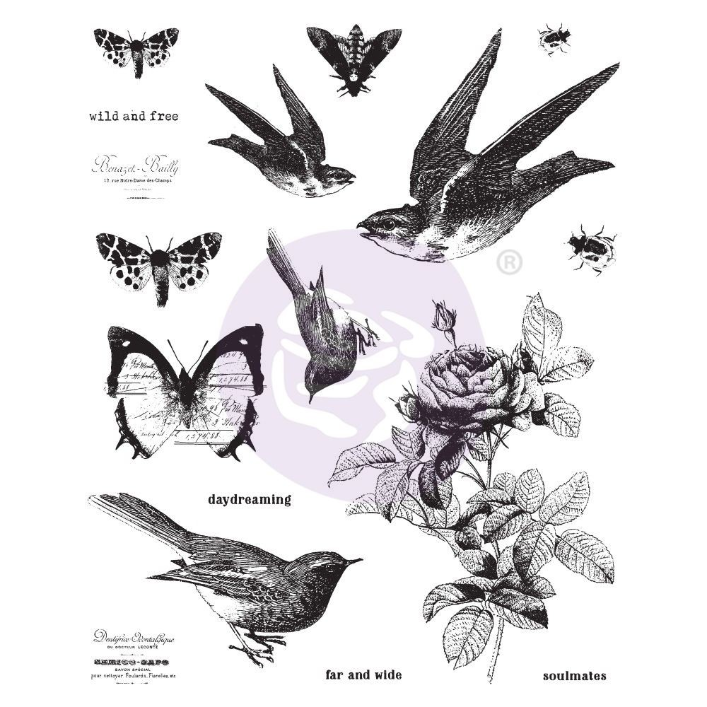 "Prima Marketing Finnabair 6""x7.5"" Cling Stamp wild and free"
