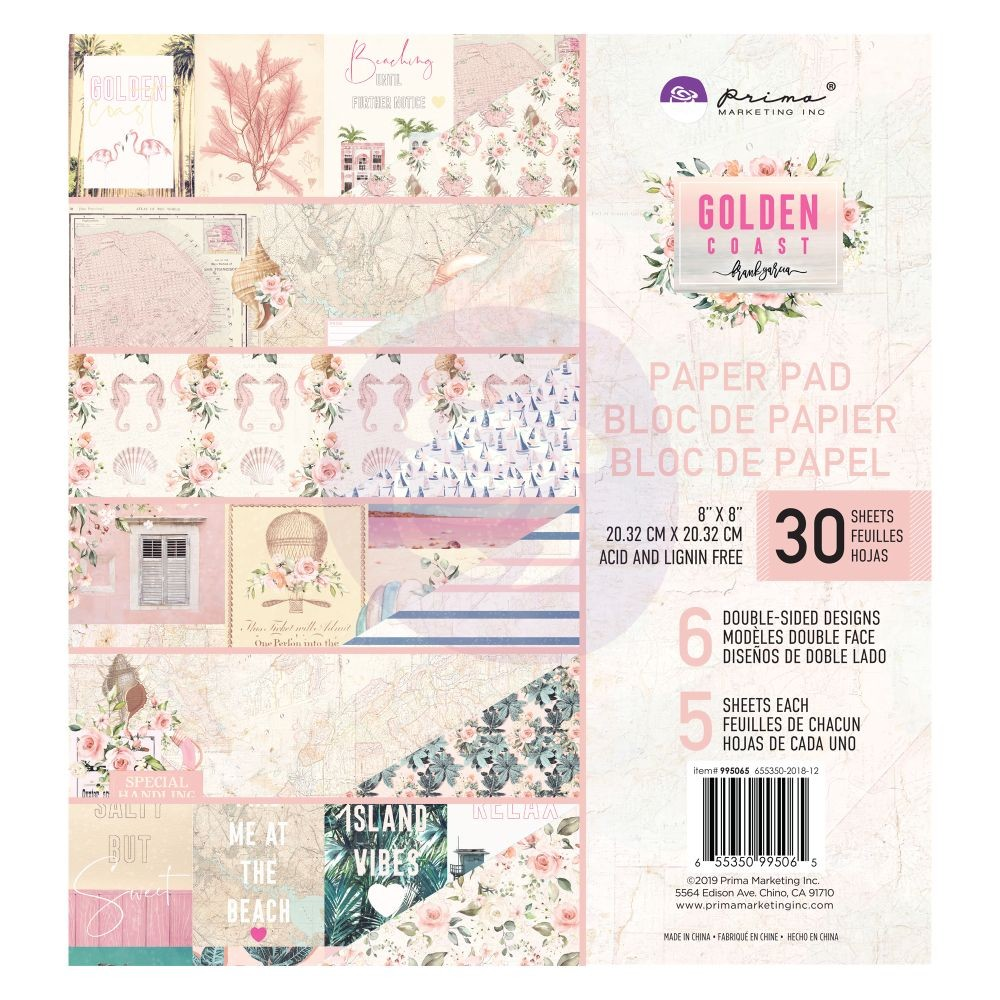 Prima Marketing Golden Coast 8x8 Paper Pad