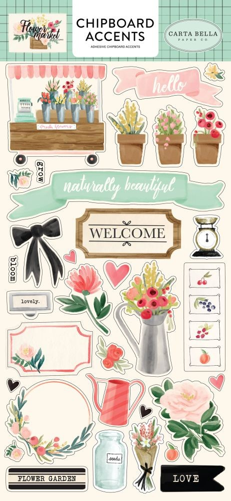 Carta Bella Flower Market 6x13 Chipboard Accents