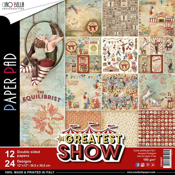 "Ciao Bella The Greatest Show Paper Pad 12""x12"" 12/Pkg"