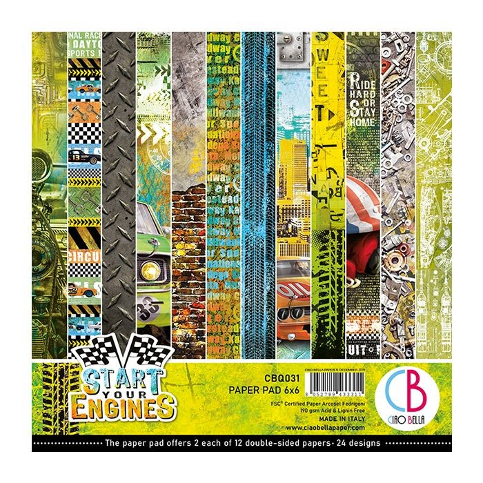 "Ciao Bella Start your Engines Paper Pad 6""x6"" 24/Pkg"