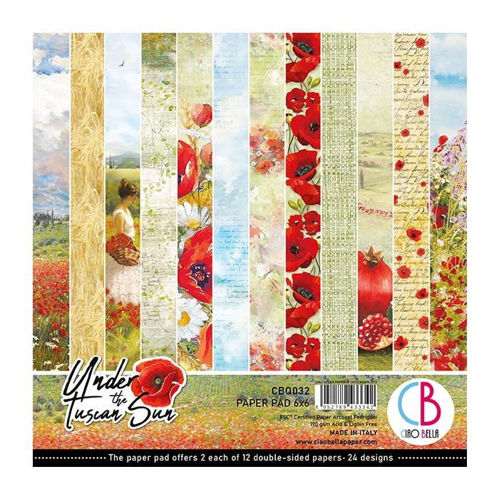 "Ciao Bella Under the Tuscan Sun Paper Pad 6""x6"" 24/Pkg"