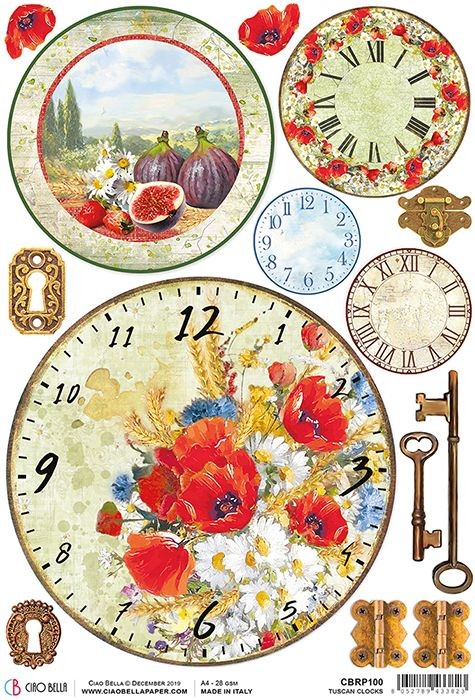 Ciao Bella Rice Paper A4 Tuscan Clocks