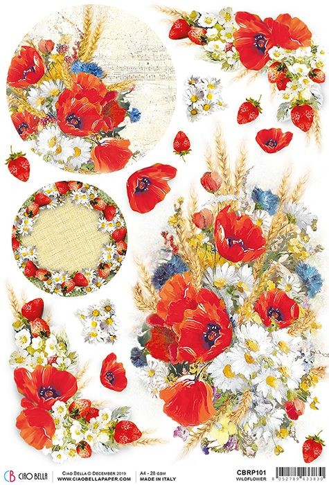 Ciao Bella Rice Paper A4 Wildflower