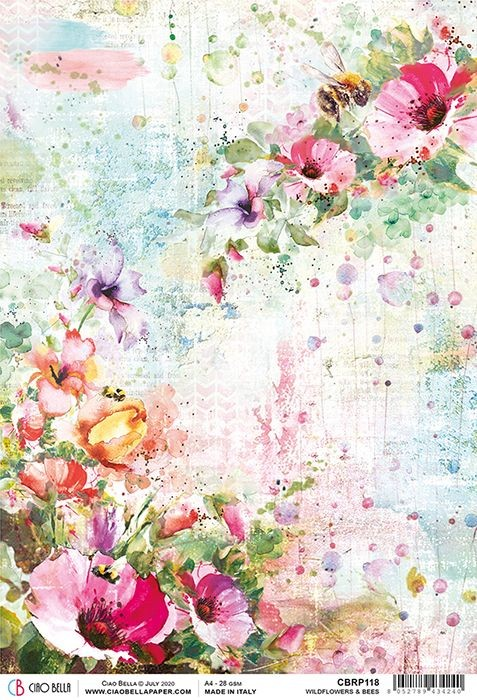 Ciao Bella Rice Paper A4 Wildflowers & Bees