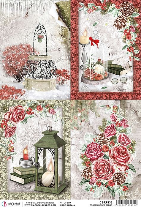 Ciao Bella Rice Paper A4 Frozen Roses Cards