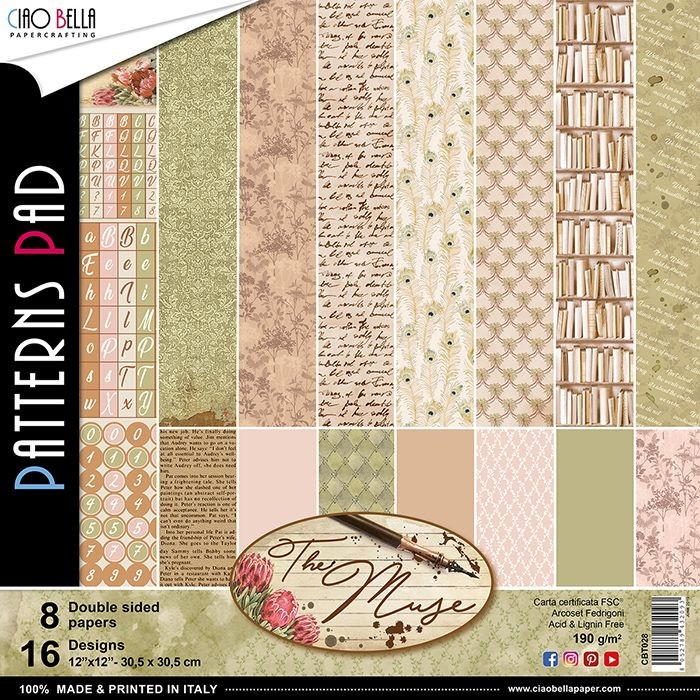 "Ciao Bella The Muse Patterns Pad 12""x12"" 8/Pkg"