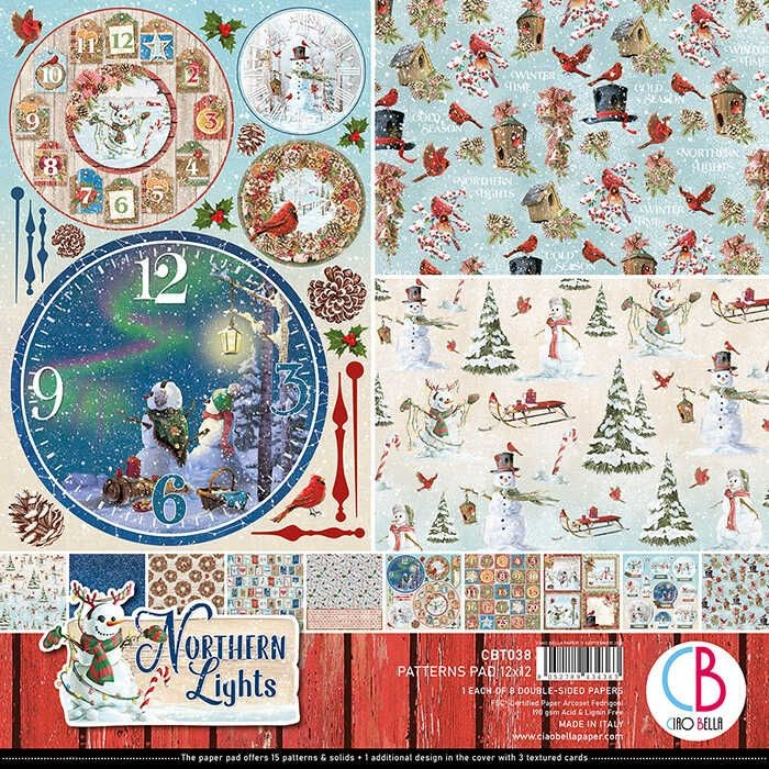 "Ciao Bella Northern Lights Patterns Pad 12""x12"" 8/Pkg"