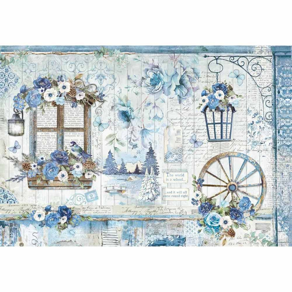 Stamperia Decoupage Rice Paper 48X33 Blue Land