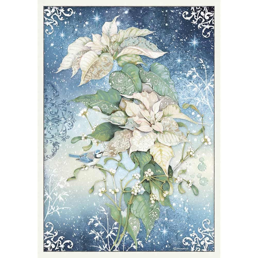 Stamperia A3 Decoupage Rice paper packed Poinsettia white
