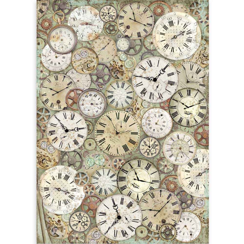 Stamperia A3 Rice paper packed Lady Vagabond clock and mechanisms