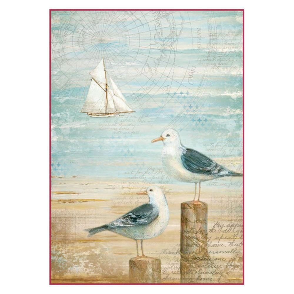 Stamperia A4 Decoupage Rice Paper Packed Sea Land seagulls