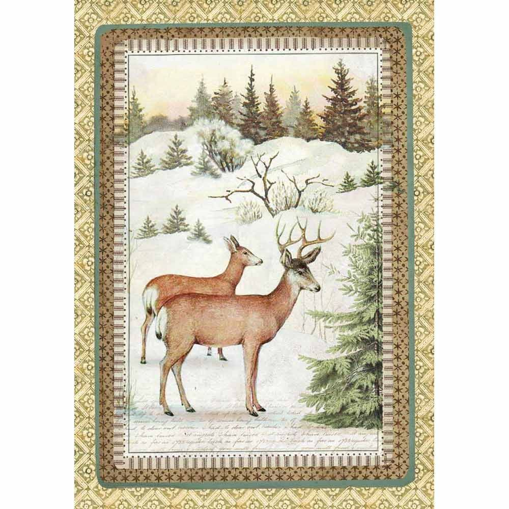 Stamperia A4 Decoupage Rice Paper packed Winter Botanic reindeer
