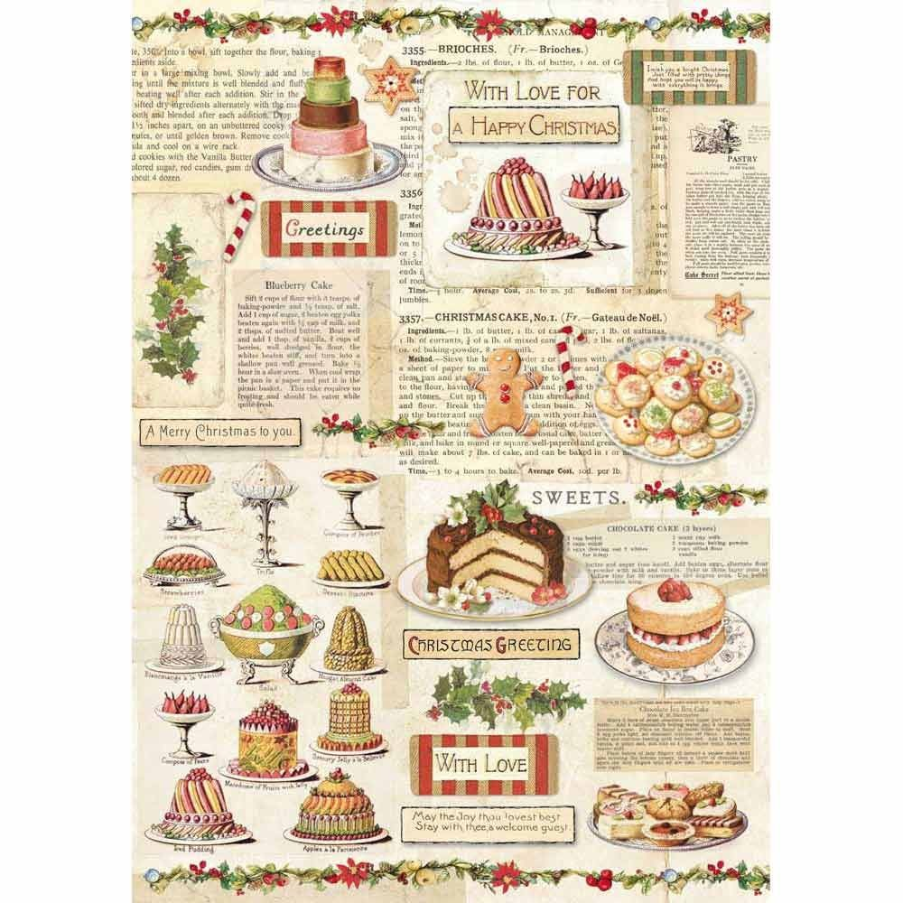 Stamperia A4 Decoupage Rice Paper packed Christmas vintage Patisserie
