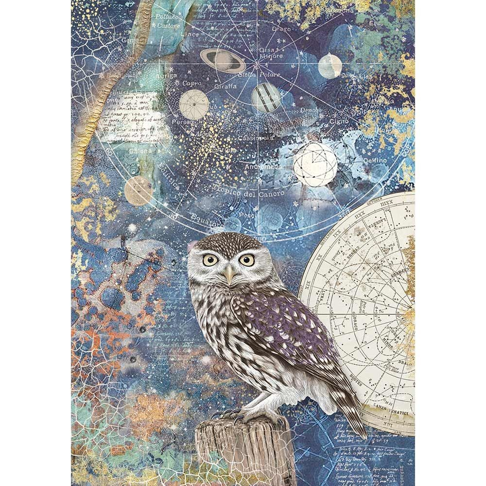 Stamperia A4 Rice paper packed Cosmos owl