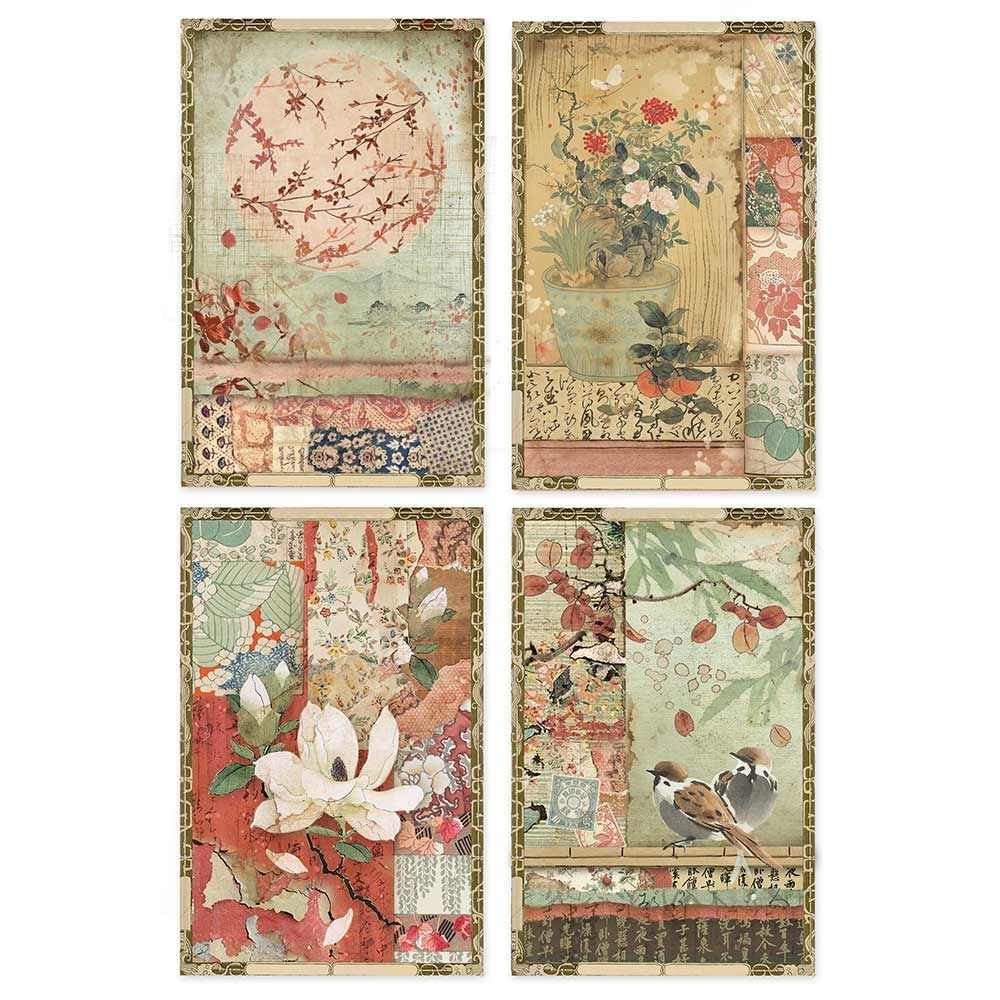 Stamperia A4 Rice paper packed Japanese postcards