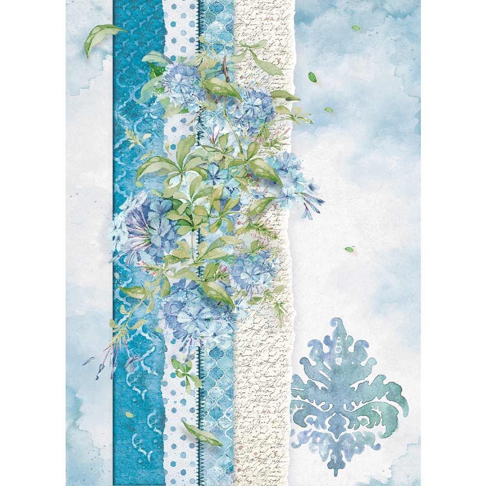 Stamperia A4 Rice paper packed Flowers for you light blue
