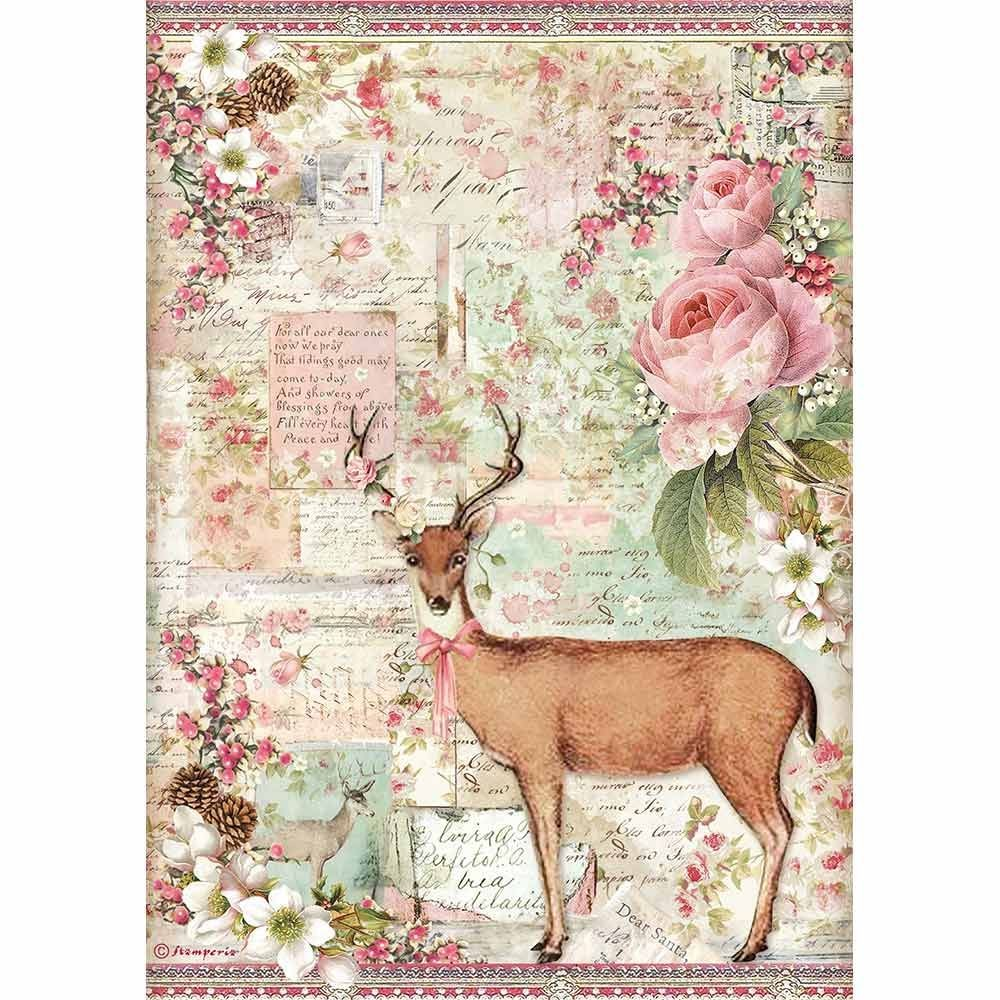 Stamperia A4 Decoupage Rice paper packed Christmas deer