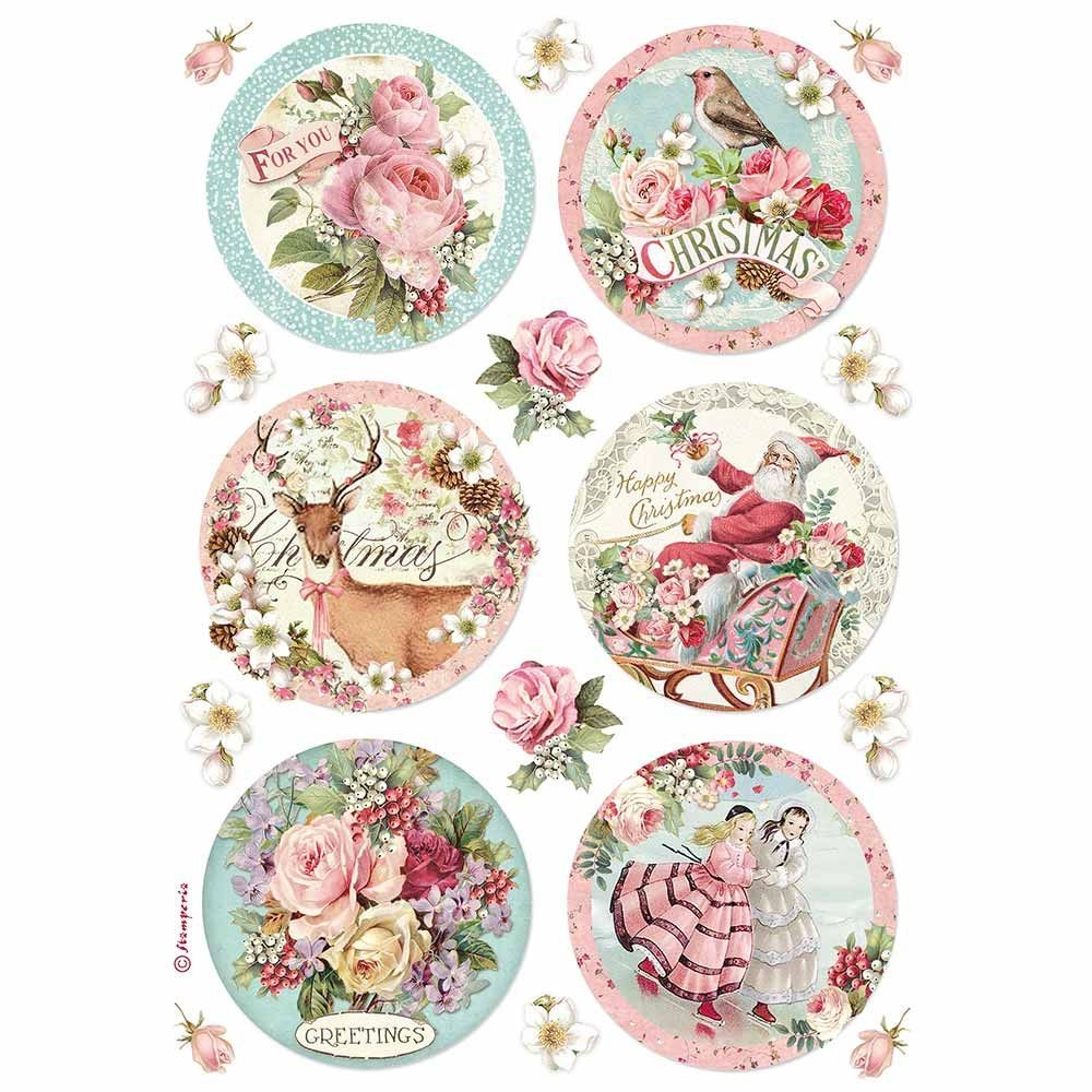 Stamperia A4 Decoupage Rice paper packed Christmas round