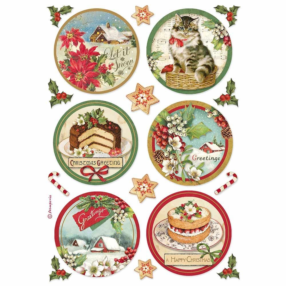 Stamperia A4 Decoupage Rice paper packed Happy Christmas round