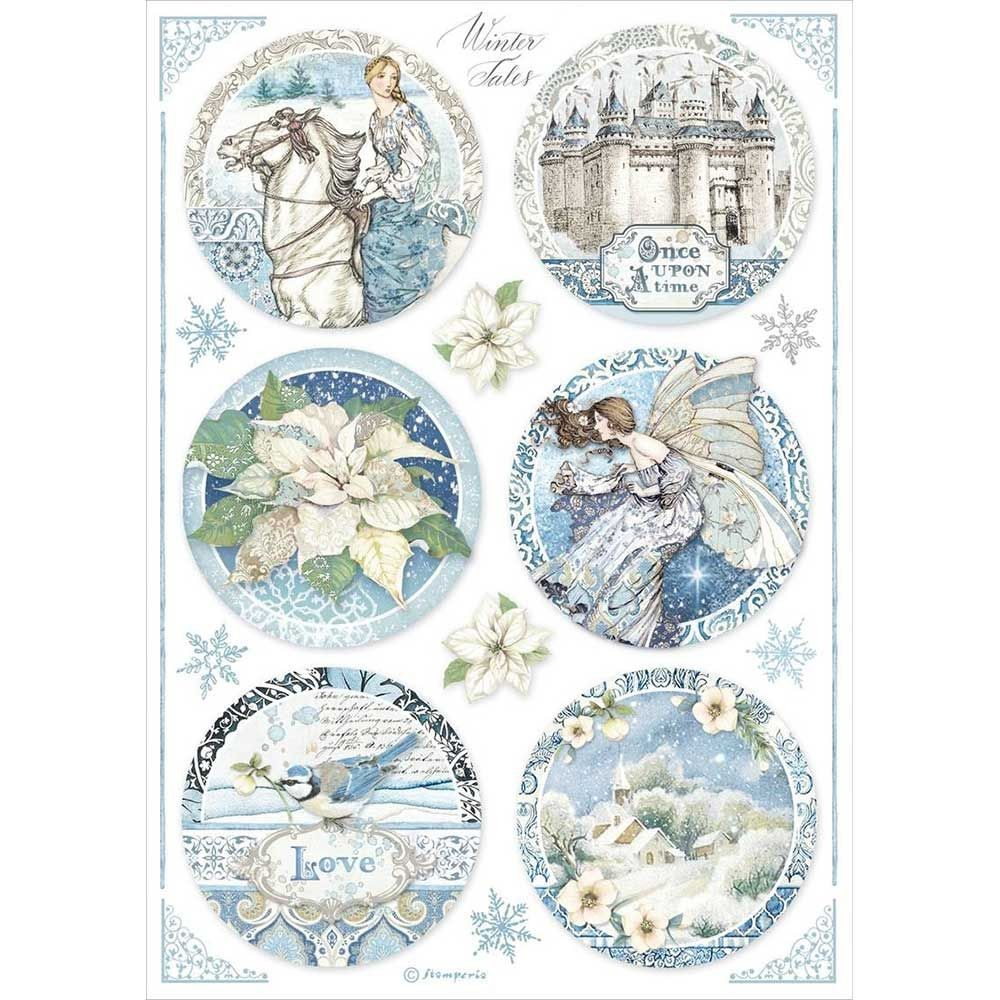 Stamperia A4 Decoupage Rice paper packed Round Castle