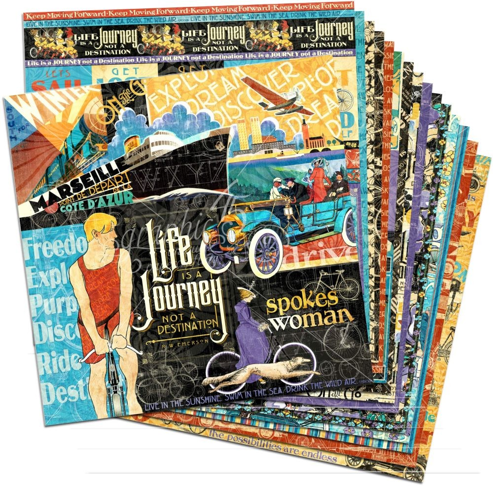 Graphic 45 Life''s a Journey 12x12 Paper Pack (16 sheets)