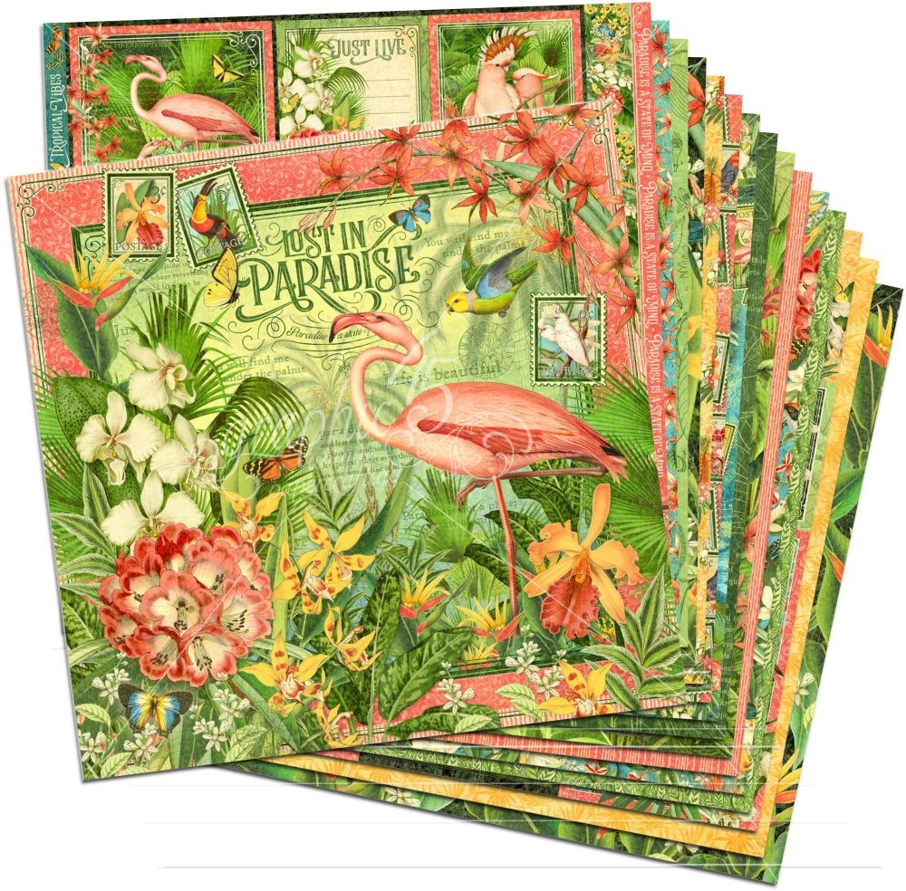 Graphic 45 Lost in Paradise 12x12 Paper Pack (16 sheets)