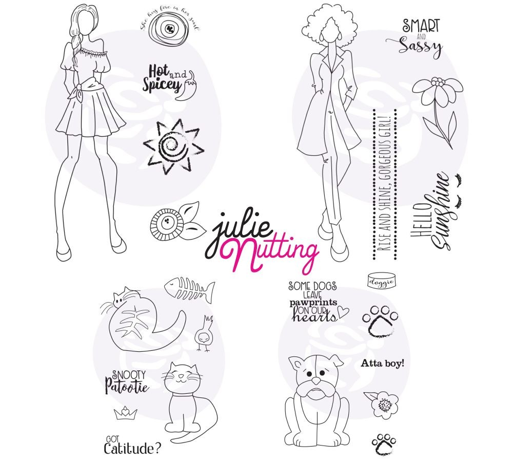 Prima Marketing Julie Nutting Bundle Summer 2019 Release NEW Mixed Media Doll Stamps (4 stamps sets - Barley, Elena, Jayla, Snooty Cats)