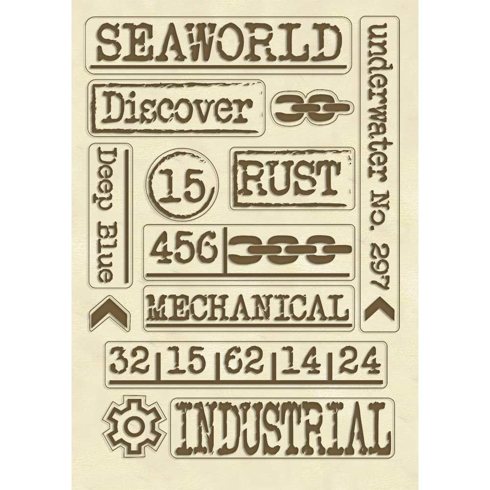 Stamperia Wooden shape A5 Writings Mechanical Sea World