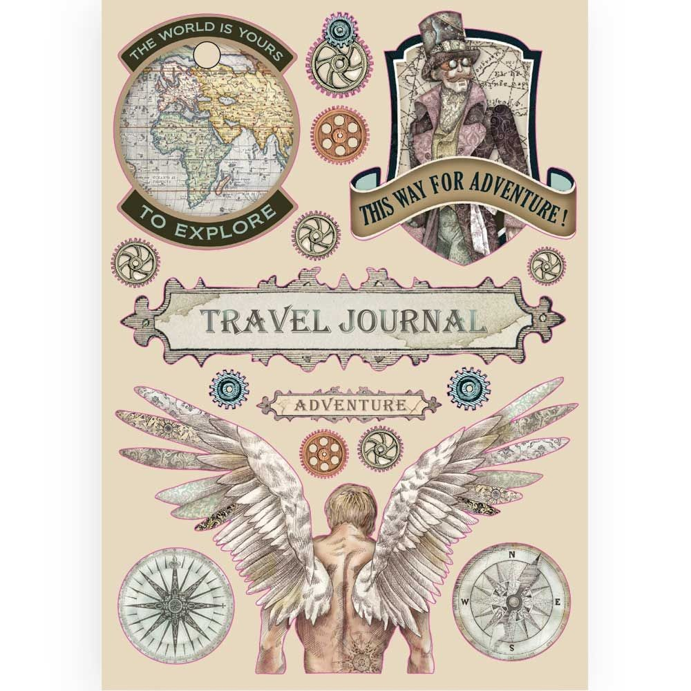 Stamperia Colored Wooden frame A5 - Sir Vagabond Travel Journal