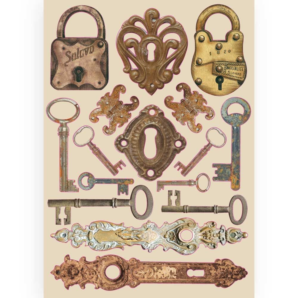 Stamperia Colored Wooden frame A5 - Lady Vagabond locks and keys