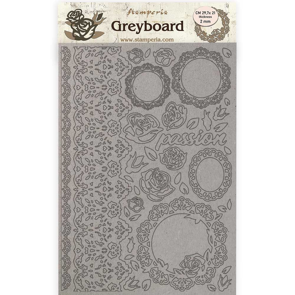 Stamperia A4 Greyboard /2 mm - Passion lace and roses