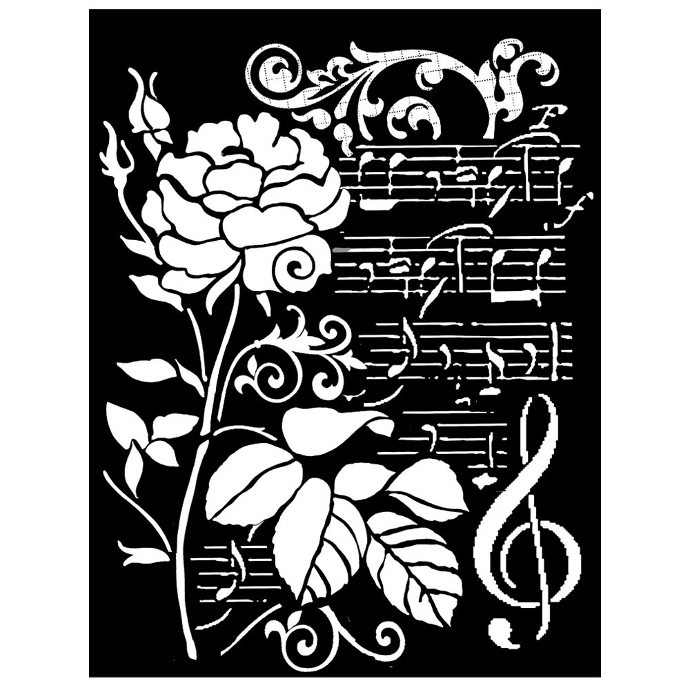 Stamperia Thick stencil cm. 20x25/0.5 mm Rose and music