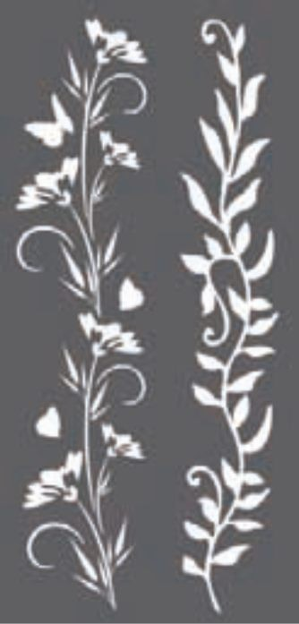 Stamperia Thick stencil 12x25 cm - Borders flowers and leaves