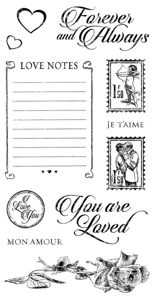 Graphic 45 Mon Amour Cling Stamp Set 2